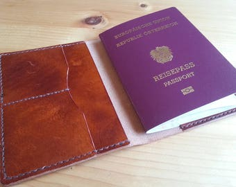 EU Passport Cover Leather, EU Reisepass Lederetui, Passport Wallet, Reisepass Lederhülle