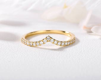 Curved Wedding Band 14k Gold Diamond ring Chevron Half Eternity Band Dainty Bridal set Stacking Woman Anniversary everyday gift for her