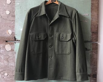 1950s X-Large Military Issue Wool Shirt Jacket