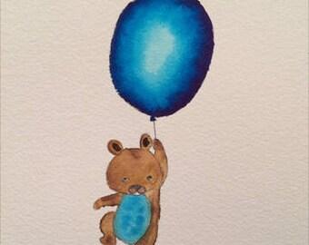 Watercolor bear holding a balloon
