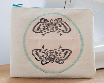 small bag / cosmetic bag moth pressure pastel and silver