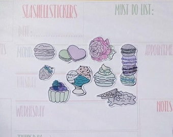 Pastel Sweets stickers, sweets planner stickers, macaron icecream stickers, glitter planner stickers, rose stickers, cupcake stickers