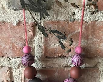 Magenta Zebra Necklace