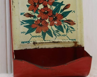 Red and Cream Flower painted Tin Matchbox holder