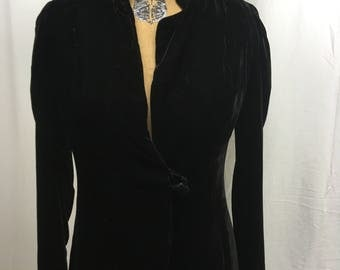 Vintage Black Velvet Full Length Coat