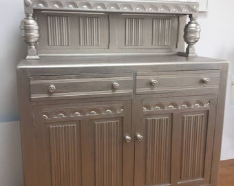 Sideboard/Cabinet - Shabby Chic Metallic Champagne Silver