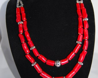 Red coral necklace, two stranded necklace.