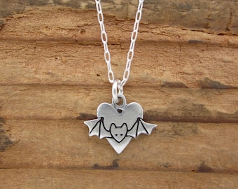 Sterling Silver Bat Necklace - Cute Bat with Heart Pendant