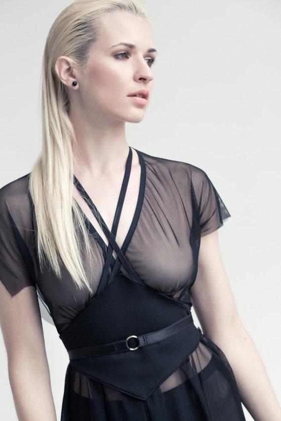 Lilith sheer black dress, night dress, little black dress. See Through, Erotic Lingerie, Mesh dress, Wedding Lingerie, Boudoir Lingerie