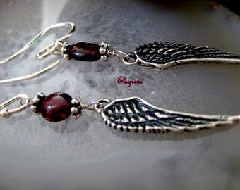 Minimalist Fine Oxidized Sterling Silver Angel Wing earrings-Silver Feather garnet earrings-Dainty wind earrings-boho-gift for her-blacked