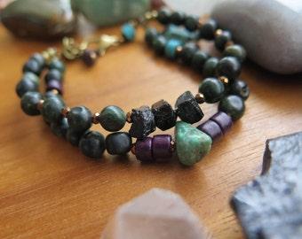 Double Earthy Stone & Ceramic Beaded Bracelet - Elephant - Brass Turquoise Purple Dark Green - Crystal Boho Jewelry OOAK Festival - Plum