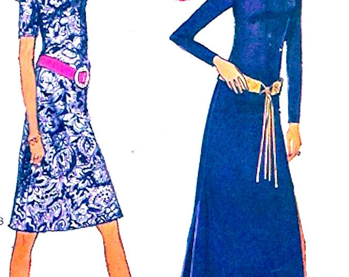 70s Hippie dress boho festival fashion Style 2973 vintage sewing pattern long or knee length easy Bust 34 UNCUT