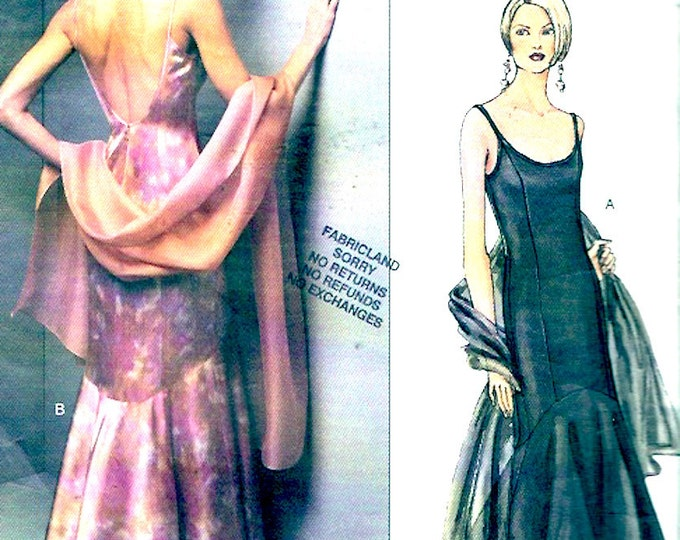 Designer Evening gown and stole Tom Linda Platt Sewing Pattern Vogue 2644 Mother of the Bride New Years Party gown Sz 14