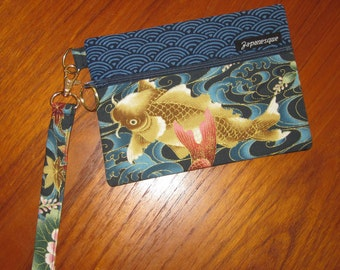 Wrist Strap Zippered Pouch Koi and Cherry Blossom Design Japanese Asian Fabric Blue