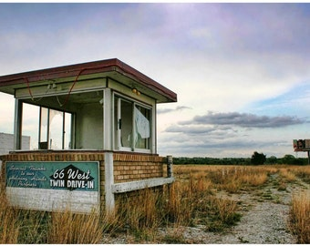 Abandoned Drive-In Sunset Photograph - Route 66 Documentary Photo Art - Oklahoma Abandoned Theatre at Sunset - Gravel Road - Liberty Images