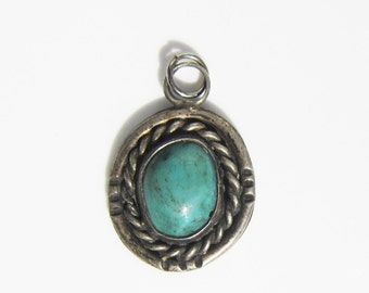 Native American Navajo - Sterling Silver - Stamped - Wire Work - and Bezel Set Turquoise Stone Pendant      1133