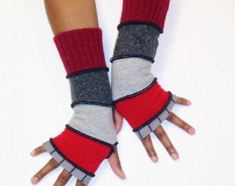 Fingerless Gloves, Armwarmers, Patchwork gloves (Grey, Black Stripes/Red/LIght Grey/Dark Speckled Grey/Cranberry) by BrendaAbdullah