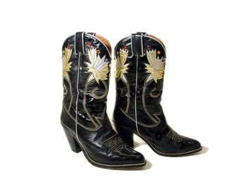 80s Beverly Feldman Boots size 7.5, Rhinestone Western Boots, Black Silver Gold Cowgirl Boots, Fancy Western Boots, Jeweled Western Boots