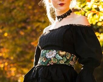 MYRTLE BELT - Lace Corset Waist Burlesque Cabaret Steampunk Steam punk Hippie Boho Dress Halloween Gypsy flowers - Colourful floral