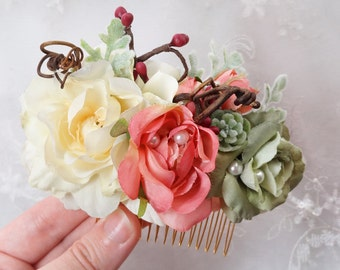 dusty pink hair comb, cream hair flower, bridal hair comb, rustic wedding headpiece, hair accessories for women, hair flower accessory