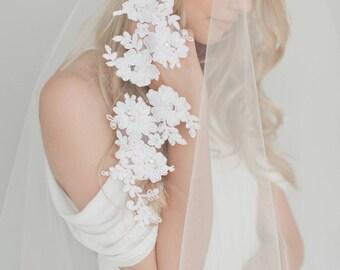 Lace Wedding Veil, Ivory Bridal Veil, Double Layer Veil, Tulle Drop Veil, Lace Applique Veil, Cathedral Veil, Long Veil, Rhinestones 1721