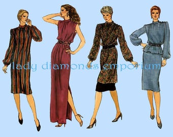 Vogue 8076 Womens High Neck Dress Tunic Top Skirt Full Length Maxi Dress size 16 Bust 38 Very Easy Vintage Sewing Pattern Uncut FF
