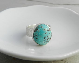 Chunky Handmade Sterling and Turquoise Ring--Metalsmith Silversmith