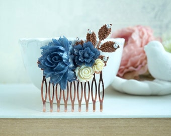 Rose Gold Bridal Comb, Navy Blue Flower Hair Comb, Rose Gold Blue Rose Comb, Rose Gold Blue Wedding Comb, Navy Blue Something Blue Wedding