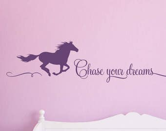 Chase Your Dreams Wall Decal With Horse, Horse Wall Decals, Girls Room  Decals, Part 42