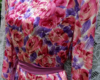 size 12 SILK Peplum skirted dress, RHINESTONE BROOCH dress, vintage 1980s silk dress, Rose and Lilac Purple Dress, Cocktail Party dress
