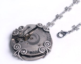 Steampunk Antique Pocket Watch Movement n Cross Chain Lariat Necklace