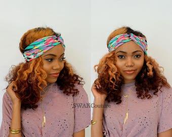 Turban Twist Headband Wide Head Wrap Chevron Jersey Headband Pink Blue Black Turband Bohemian Headband or Choose Color