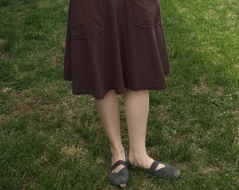Womens Jersey Knit Cotton Circle Semi Circle Skirt with Pockets- Made in the USA - Thrive
