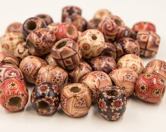 Wood Beads,  Large Hole Wood Beads, 50pcs, 16mm, Macrame Beads, Beads For Hemp, Patterned Wood Beads - B210