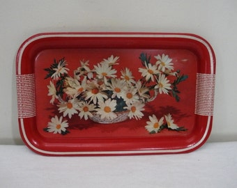 Vintage Red Metal Daisy Snack Tray