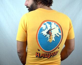 Vintage 1970s Sailing Hawaii Yellow 1972 Hawaiian Tshirt Tee Shirt - Crazy Shirts