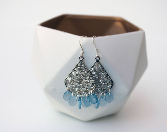 Raindrops Chandelier Earrings in Blue/Silver