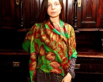 SALE!!! Nuno felted scarf shawl merino wool and silk - Bright summer