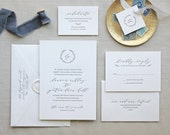 Letterpress Wedding Invitation - Serenbe Design - Traditional, Classic, Monogram, Simple, Classic, Elegant, Calligraphy, Wax Seal