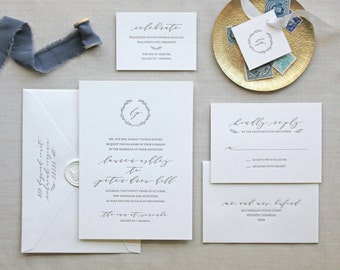 Serenbe Letterpress Wedding Invitation - Calligraphy,Traditional, Elegant, Simple, Classic, Script, Custom, Formal, Destination