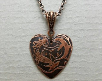 Etched Copper Heart Mermaid with Dolphin  Necklace