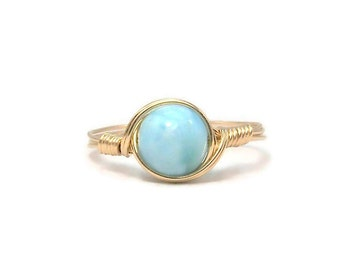 Larimar 14k Yellow Gold Fill Wire Wrapped Ring Custom Sized