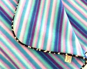 Purple Fleece Rainbow Barking Dog Blanket