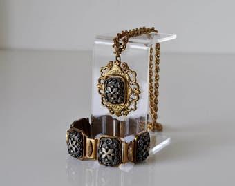 Vintage Baroque Style Necklace and Bracelet Set