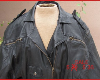 REDUCED PRICE - 1950s Style Rocker Black Soft Leather Jacket -