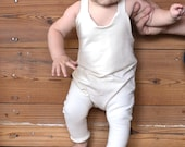 handmade NON NOON organic off white stretch overalls baby boy and girl  / infant cream neutral harem romper / newborn 3 6 9 12 18 months