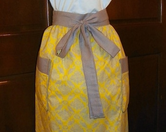 Vivid 28 inch Extra Long Waist Apron Damask Yellow and Gray Handmade for Cooking Cleaning Craft Activities Clothes Protector