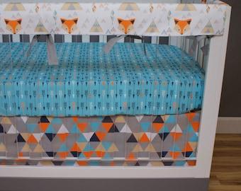 Crib Bedding Fox, Bumperless Crib Bedding, Baby Bedding, Rail Guards Arrows Teepee Tribal Southwest Triangles Aqua Orange Navy Nursery Set