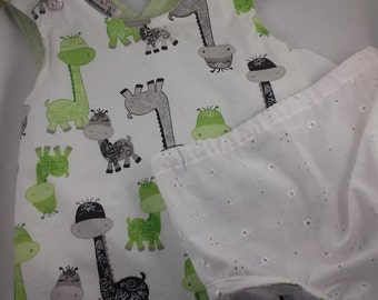 SALE Dinos Sundress Reversible Pinafore Romper Set Size 2/3 Only one of a kind.