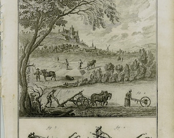 1756 Large Antique AGRICULTURE Engraving, Plow, Farming Landscape, Tillage Machinery, Rustic Decor, Rural Landscape. + 250 Years Old print